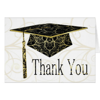 Black & Gold Floral Cap Thank You Card