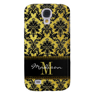 Black & Gold Floral Damask, Lace, Name & Monogram