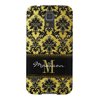 Black & Gold Floral Damask, Lace, Name & Monogram Galaxy S5 Cover