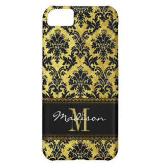 Black & Gold Floral Damask, Lace, Name & Monogram iPhone 5C Covers