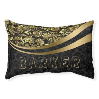 Black & Gold Floral Damasks 2 Pet Bed