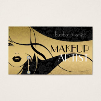 Black & Gold Floral Damasks-Makeup Artist Business Card