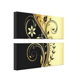 Black & Gold Floral Scroll Quad Canvas Print