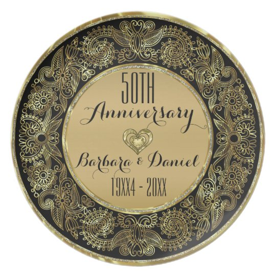 Black & Gold Floral Swirl 50th Wedding Anniversary Plate