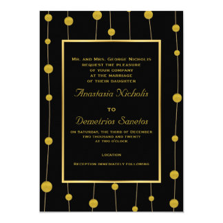 Black, gold foil beads and frame modern wedding card