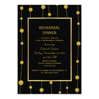 Black, gold foil beads wedding rehearsal dinner card