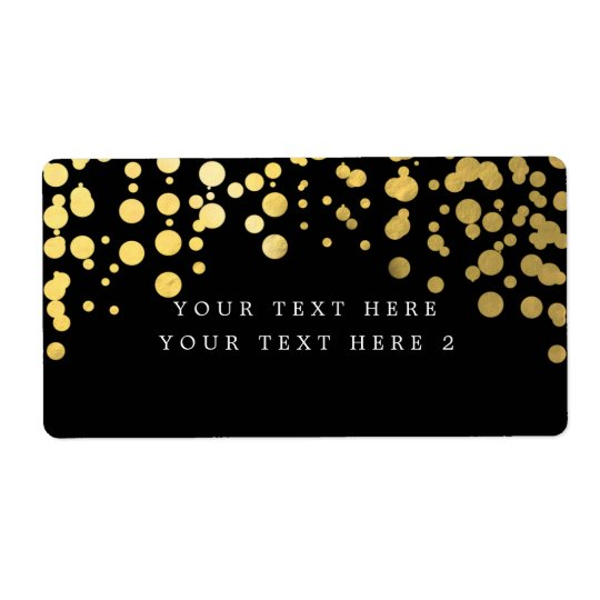 Black & Gold Foil Confetti Modern Package Label Shipping Label