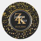 Black Gold Foil Confetti | Monogram Wedding Favour Classic Round Sticker