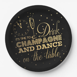 Black/Gold Foil New Year's Eve Paper Plate