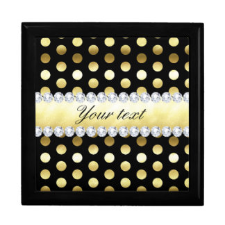 Black Gold Foil Polka Dots Diamonds Gift Box