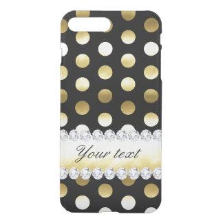 Black Gold Foil Polka Dots Diamonds iPhone 8 Plus/7 Plus Case