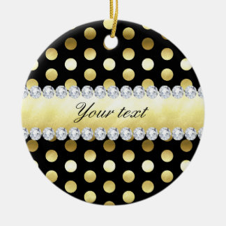 Black Gold Foil Polka Dots Diamonds Round Ceramic Ornament
