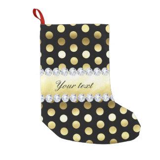Black Gold Foil Polka Dots Diamonds Small Christmas Stocking