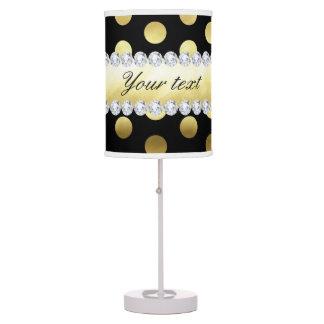 Black Gold Foil Polka Dots Diamonds Table Lamp