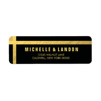 Black+Gold Foil Return Address Labels | WEDDINGS