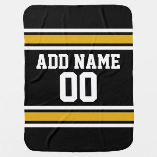 Black Gold Football Jersey Custom Name Number Baby Blanket