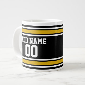 Black Gold Football Jersey Custom Name Number Jumbo Mug