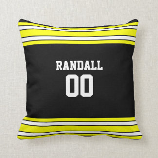 Black & Gold Football Team Personalized Throw Pillow