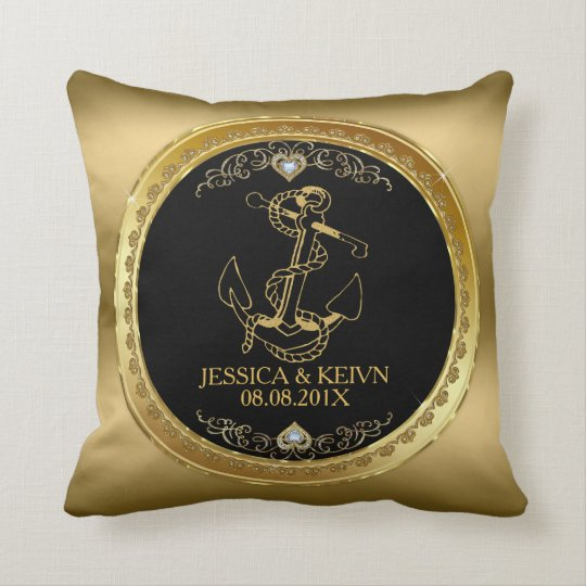 Black & Gold Frame & Nautical Boat Anchor Throw Pillow