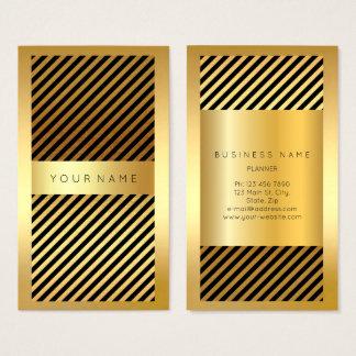 Black Gold Frame Stripes Lines Vertical Business Card