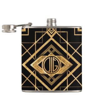 Black & Gold Gatsby Art Deco - Vinyl Flask