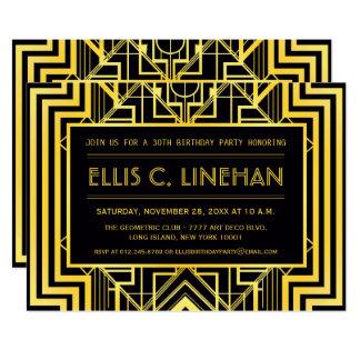 Black & Gold Geometric Birthday Party Invites