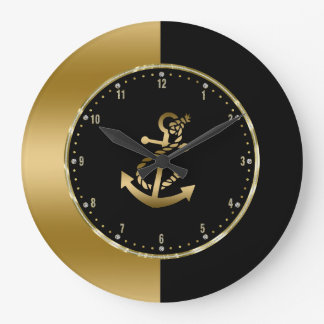 Black & Gold Geometric Design With Boat Anchor Large Clock
