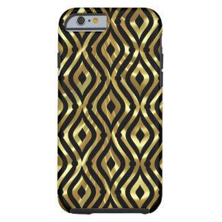 Black & Gold Geometric Quatrefoil Pattern Pattern Tough iPhone 6 Case