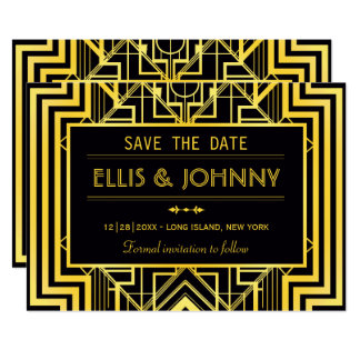 Black & Gold Geometric Save the Date Card