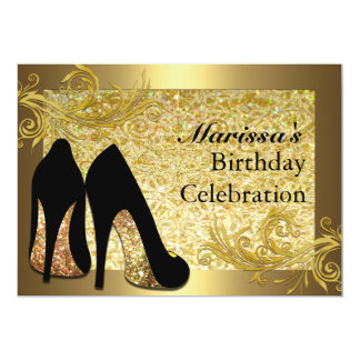 Black Gold Glitter 50th Womans Birthday Invitation