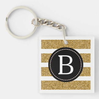 Black & Gold Glitter (Choose Background Colour) Double-Sided Square Acrylic Keychain