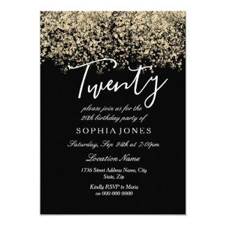 20th birthday party invitations announcements zazzle canada black gold glitter confetti 20th birthday party card filmwisefo Images