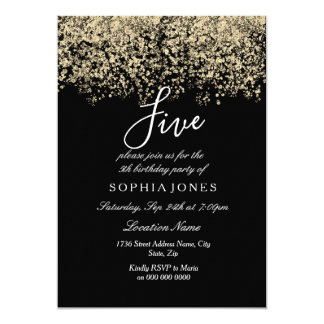 Black Gold Glitter Confetti 5th birthday party Card