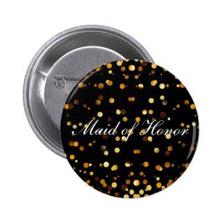 Black Gold Glitter Confetti Foil Maid of Honor 2 Inch Round Button