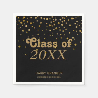 Black Gold Glitter Confetti | Graduation Party Paper Napkin