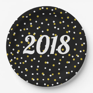 Black Gold glitter confetti new year's party decor Paper Plate