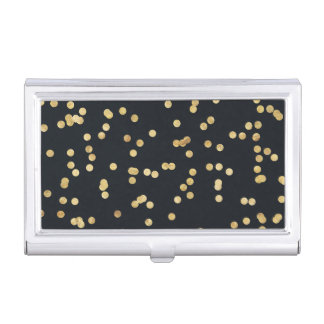 Black Gold Glitter Confetti Polka Dots Case For Business Cards