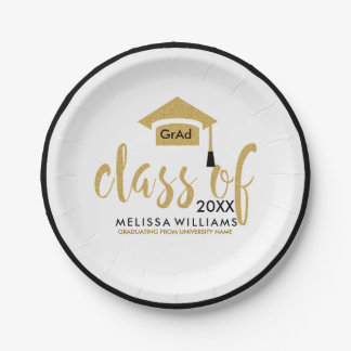 Black & Gold Glitter Design Modern Class Of 2017 7 Inch Paper Plate