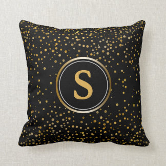 Black Gold Glitter Dots | Glam Monogram Initial Throw Pillow