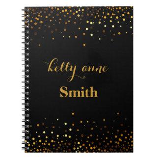 Black Gold Glitter Faux Foil Glamorous kraft Spiral Note Book