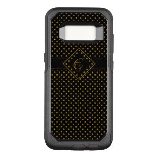 BLACK GOLD GLITTER GIRLY POLKA DOTS MONOGRAMMED OtterBox COMMUTER SAMSUNG GALAXY S8 CASE