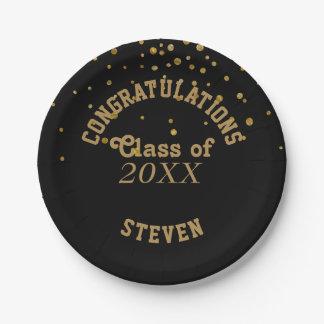 Black Gold Glitter Graduation Party   Congrats Paper Plate