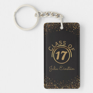 Black Gold Glitter Graduation | Your Name Class of Keychain