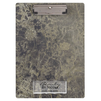 Black Gold Glitter Granite Glam Personalized Clipboard
