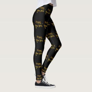 Black & Gold Glitter Happy New Year Leggings