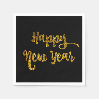 Black & Gold Glitter Happy New Year Napkins Disposable Napkins