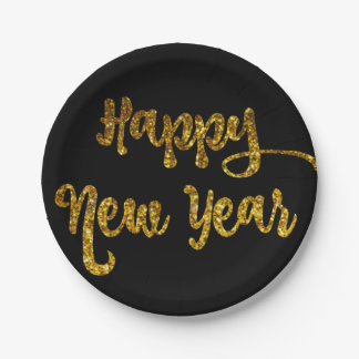 Black & Gold Glitter Happy New Year Plates 7 Inch Paper Plate