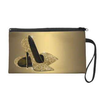 Black Gold Glitter High Heel Shoe Wristlet