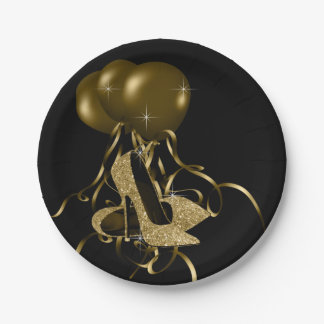 Black Gold Glitter High Heel Shoes Womans Birthday 7 Inch Paper Plate