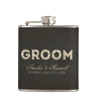 Black & Gold Glitter Look Groom Flask